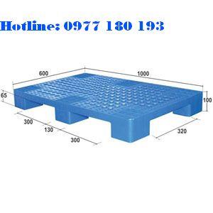 Pallet Nhựa PL04LS Kích thước: 1000x600x100mm Trọng tảiđộng: 500kg Trọng tải tĩnh: 1000kg