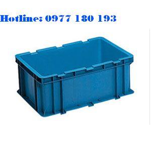 Thùng Nhựa đặc NAC 602 Kích thước ngoài: 600x400x240mm Kích thước trong: 550x350x230mm