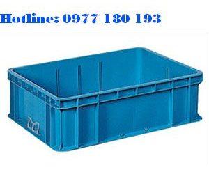 Thùng Nhựa Đặc NAC605 Kích thước ngoài: 800x600x240mm Kích Thước trong: 750x550x219mm