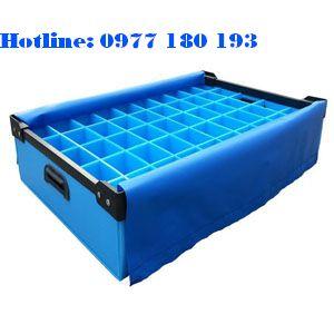 Thùng nhựa danpla thường màu xanh dương có vách ngăn Kích thước: Làm theo yêu cầu.
